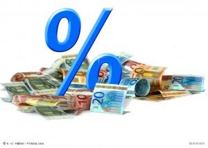 Prozentzeichen und Geldscheine